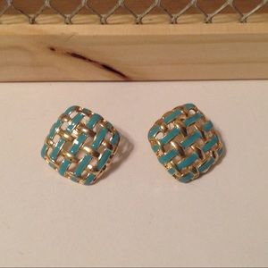 Gold Tone Square Lattice Earrings
